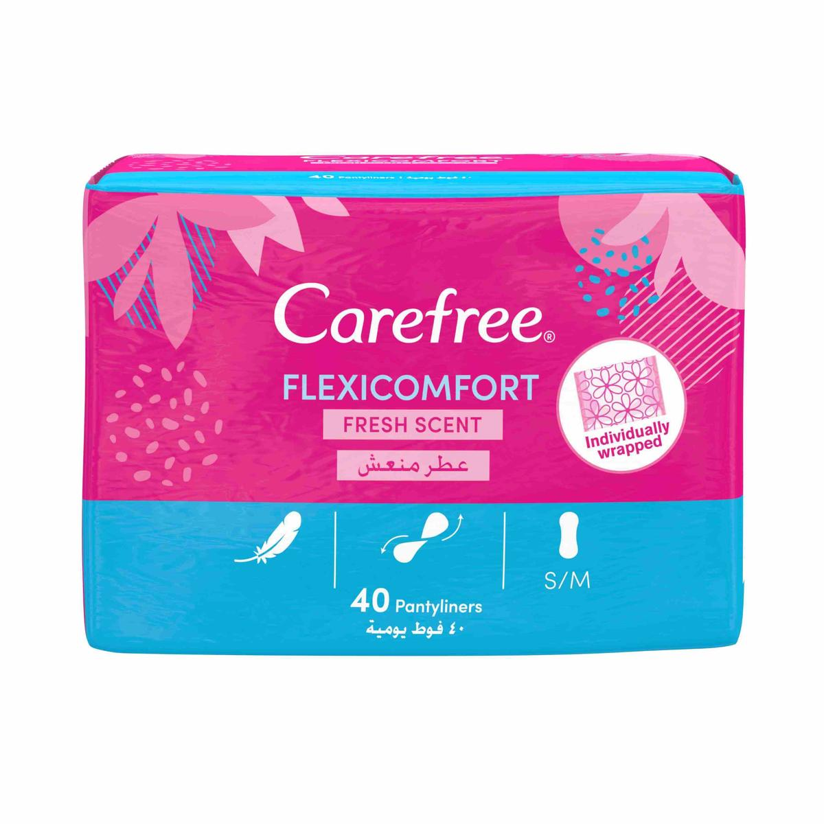 Carefree Flexicomfort Panty Liners With Fresh Scent 40-Pack
