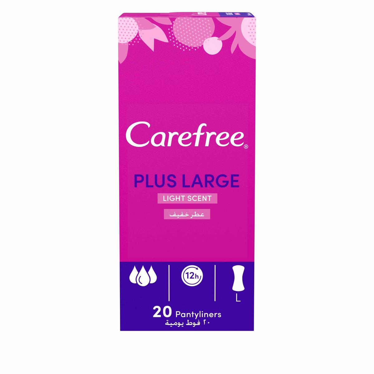 Carefree Plus Large Panty Liners Light Scent 20-Pack