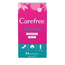 Carefree Cotton Feel Unscented Panty Liners 34-Pack