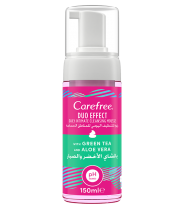 CAREFREE® Duo Effect Intimate Cleansing Mousse - With Green Tea And Aloe Vera