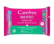 CAREFREE® Duo Effect Intimate Wipes – With Green Tea and Aloe Vera
