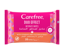 Carefree Duo Effect Intimate Wipes With Vitamin E And Cotton Extract