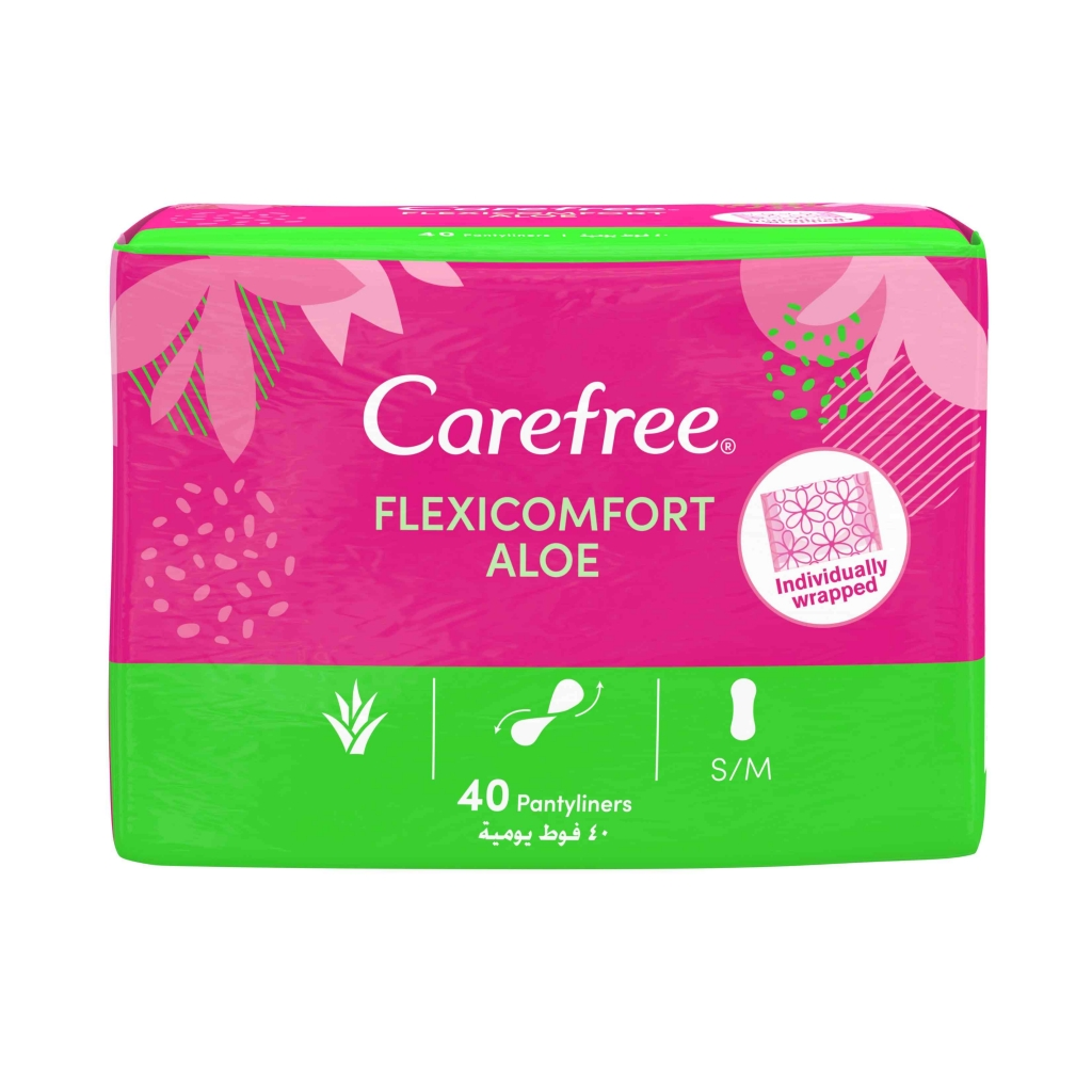 Carefree Flexicomfort Panty Liners With Aloe Vera 40-Pack